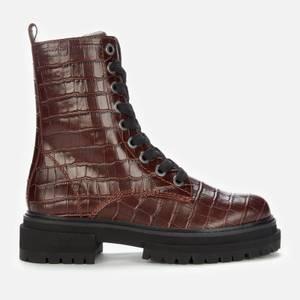 Kurt Geiger London Women's Siva Croc Print Leather Lace Up Boots - Wine