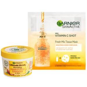 Garnier Ultimate Blends Hair Food Banana Mask & Vitamin C Sheet Mask Set