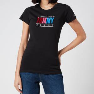 Tommy Jeans Women's TJW Multi Colour Logo T-Shirt - Black