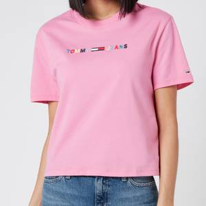 Tommy Jeans Women's Coloured Linear Logo T-Shirt - Pink Daisy