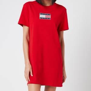 Tommy Jeans Women's Tommy Logo T-Shirt Dress - Deep Crimson