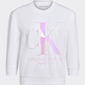 Calvin Klein Jeans Women's Iridescent Monogram Crew Neck Sweatshirt - Bright White