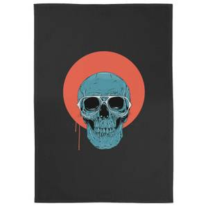 Blue Skull Cotton Tea Towel - Black