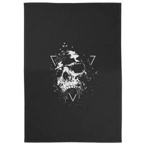 Skull Cotton Tea Towel - Black