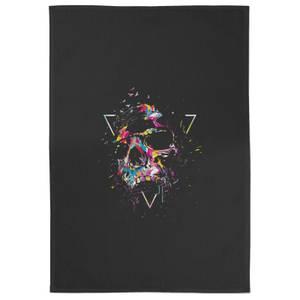 Shattered Skull Cotton Tea Towel - Black