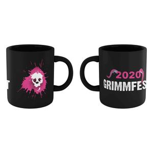 Grimmfest 2020 Pink Skull Logo Mug - Black