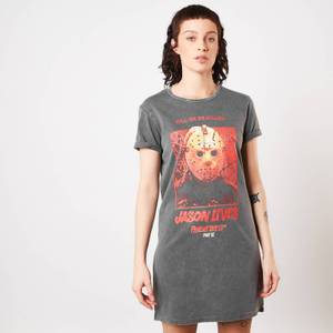 Friday the 13th Jason Lives Women's T-Shirt Dress - Navy Acid Wash
