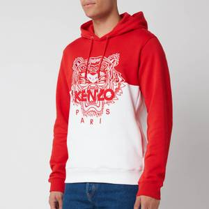 KENZO Men's Colorblocked Tiger Icon Hoodie - Medium Red