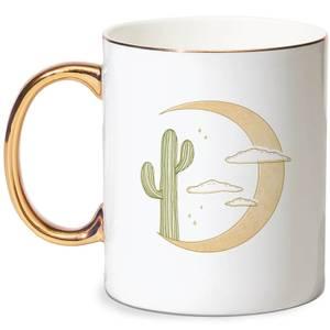 Moon Cactus Bone China Gold Handle Mug