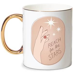 Reach Stars Bone China Gold Handle Mug