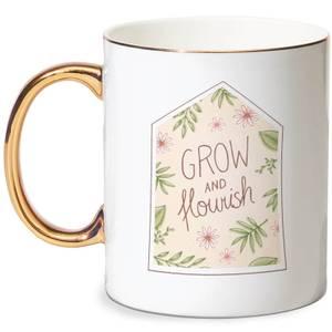 Grow And Flourish Bone China Gold Handle Mug