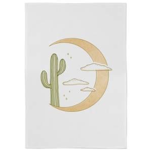 Moon Cactus Cotton Tea Towel - White