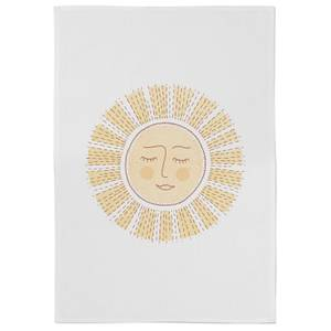 Sunny Side Up Cotton Tea Towel - White