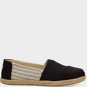 TOMS Women's Alpargata Rope Slip-On Pumps - Black/Stripe
