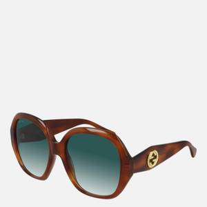 Gucci Women's Round Acetate Sunglasses - Gold/Brown