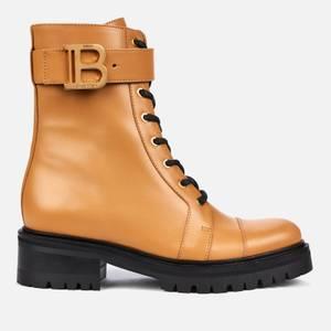 Balmain Women's Ranger Boot Leather - Dark Beige