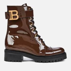 Balmain Women's Ranger Boot Patent Leather - Dark Brown