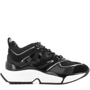 KARL LAGERFELD Women's Aventur Delta Lo Mix Trainers - Black Leather Textile