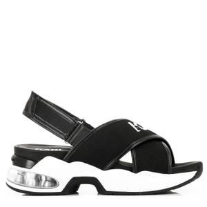 KARL LAGERFELD Women's Ventura Karl X-Strap Sling Sandals - Black Knit Textile