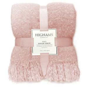 Premium Faux Mohair Throw - Blush