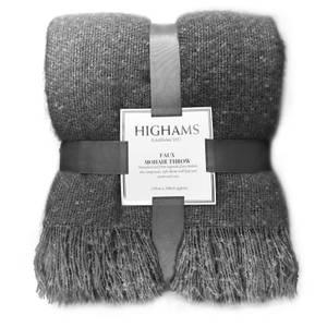 Premium Faux Mohair Throw - Charcoal