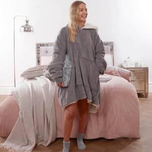 Super Soft Sherpa Hoodie Fleece Blanket - Charcoal