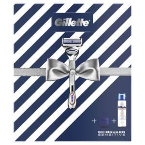 Gillette SkinGuard Sensitive Razor, Shaving Gel and Travel Case Gift Set