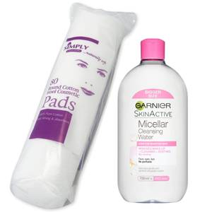 Garnier Micellar Water Facial Cleanser Makeup Remover 700ml with Cotton Wool Pads Bundle