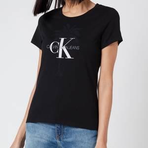 Calvin Klein Jeans Women's Palm Tree Monogram Slim T-Shirt - CK Black