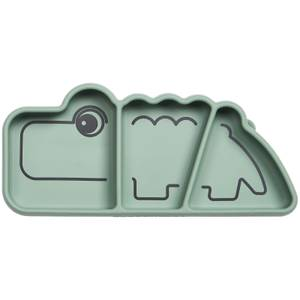 Done by Deer Silicone Stick & Stay Snack Plate Croc - Green