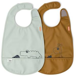 Done by Deer Bib - Deer Friends - 2 Pack - Mustard/Green