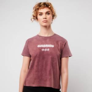 Cropped T-Shirt Femme Nintendo Super Mario & Yoshi - Bordeaux Acid Wash