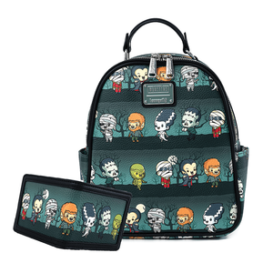 Loungefly Universal Monsters Chibi Aop Mini Backpack and Wallet Set