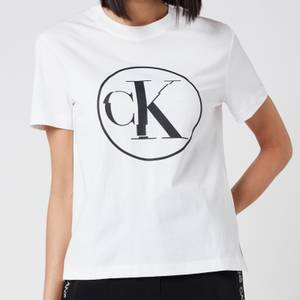 Calvin Klein Jeans Women's Circle Ck T-Shirt - Bright White