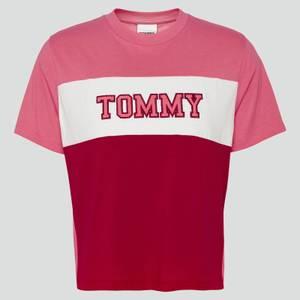 Tommy Jeans Women's Tjw Colorblock Stripe T-Shirt - Glamour Pink/Multi