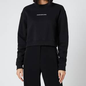 Calvin Klein Jeans Women's Back Monogram Crop Sweatshirt - Ck Black