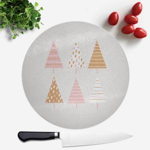 Pretty Christmas Trees Round Chopping Board