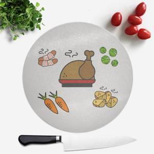 Christmas Dinner Round Chopping Board
