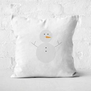 Snowman Carrot Square Cushion