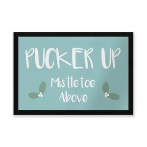 Pucker Up Mistletoe Above Entrance Mat