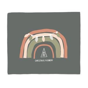 Khaki Christmas Rainbow Fleece Blanket