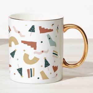Christmas Pattern Bone China Gold Handle Mug