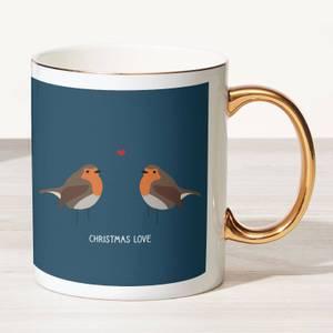 Robin Love Bone China Gold Handle Mug