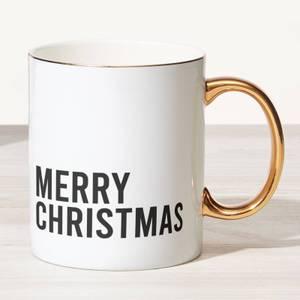 Merry Christmas Bone China Gold Handle Mug