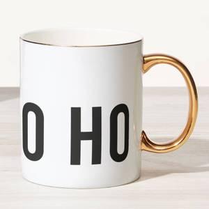 Ho Ho Ho Bone China Gold Handle Mug