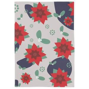 Christmas Flowers And Misle Toe Tea Towel
