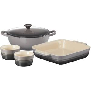 Le Creuset Stoneware Soup Pot, Square Dish and Ramekins Set - Flint