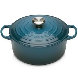 Le Creuset Signature Cast Iron Round Casserole Dish - 24cm - Deep Teal