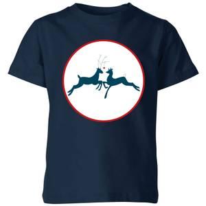 Reindeer Kisses Kids' T-Shirt - Navy
