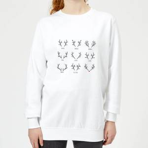 Graphical Santas Reindeers Women's Sweatshirt - White